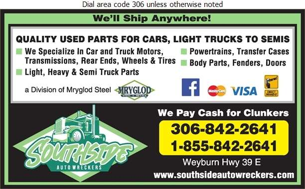 Southside Auto Wreckers (Weyburn) - Auto Wrecking Digital Ad