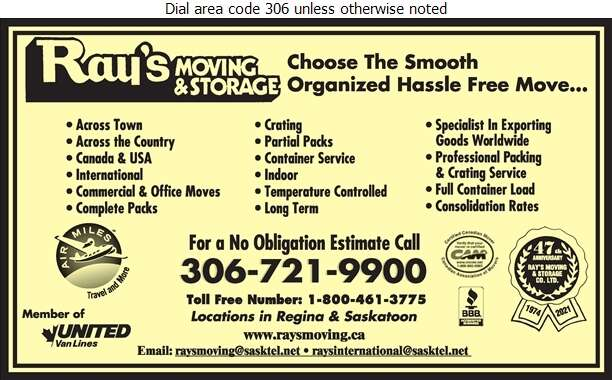 Ray's Moving & Storage Co Ltd - Movers Digital Ad