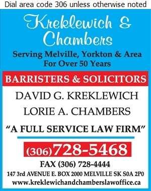 Kreklewich & Chambers - Lawyers Digital Ad