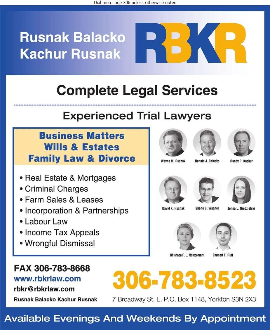 Rusnak Balacko Kachur Rusnak (Canora Office) - Lawyers Digital Ad