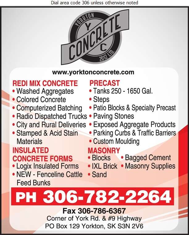 Yorkton Concrete 2012 Ltd - Concrete Products Digital Ad