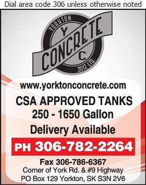Yorkton Concrete 2012 Ltd - Septic Tanks Sales & Service Digital Ad