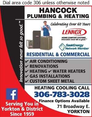 Hancock Plumbing 2011 Ltd - Air Conditioning Equipment & Supplies Retail Digital Ad