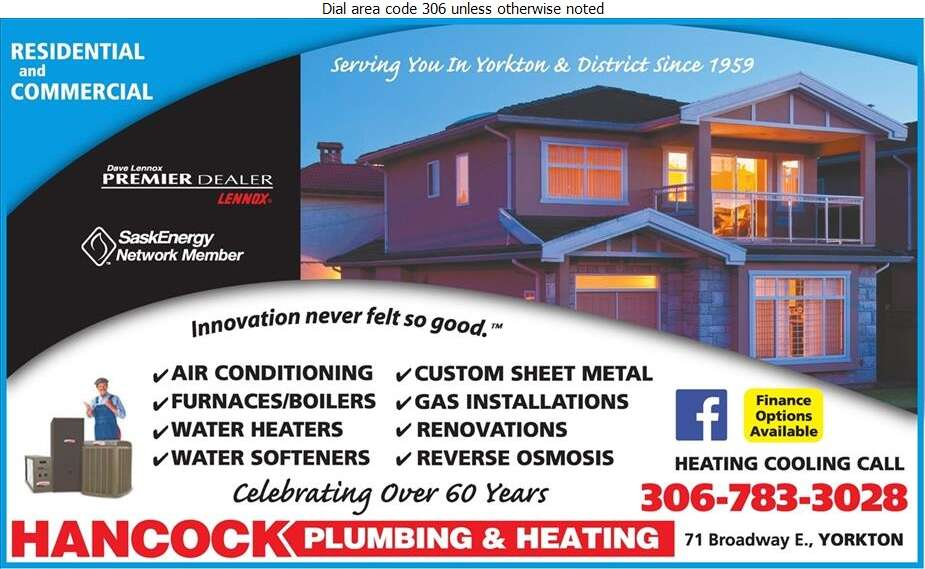 Hancock Plumbing 2011 Ltd - Plumbing Contractors Digital Ad