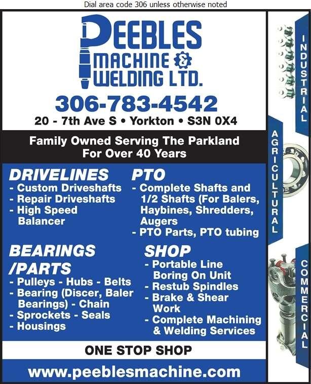 Peebles Machine Shop & Welding - Machine Shops Digital Ad