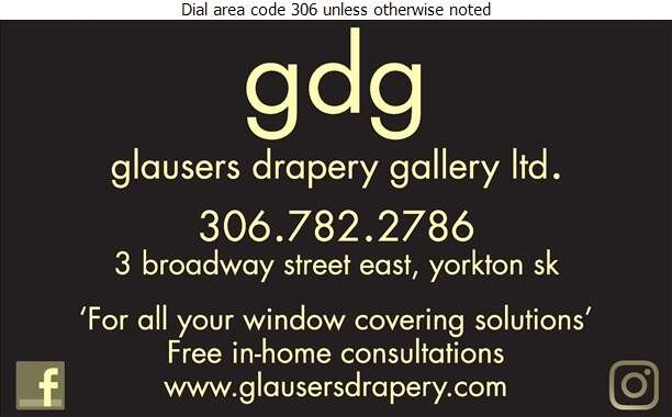 Glauser's Drapery Gallery Ltd (Phone/Fax) - Blinds Retail Digital Ad