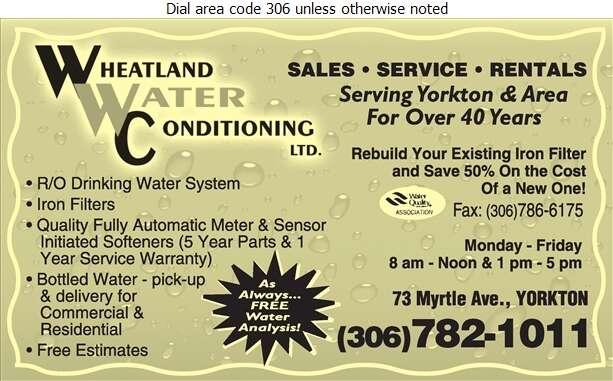 Wheatland Water Conditioning Ltd - Water Softening Equipment Service & Supplies Digital Ad