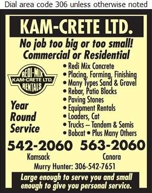 Kam-Crete Ltd - Concrete Products Digital Ad