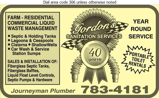 Gordon's Sanitation - Septic Tanks Sales & Service Digital Ad