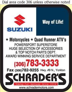 Schrader's Honda Yamaha Suzuki - Motorcycles Digital Ad