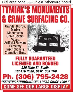 Tymiak's Monuments & Grave Surfacing Co - Monuments Digital Ad