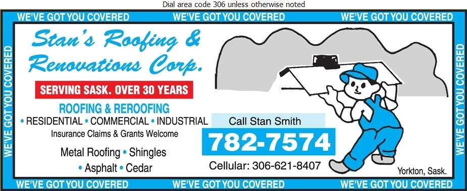 Stan's Roofing & Renovations Corp - Roofing Contractors Digital Ad