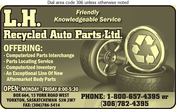 L H Recycled Auto Parts Ltd - Auto Wrecking Digital Ad