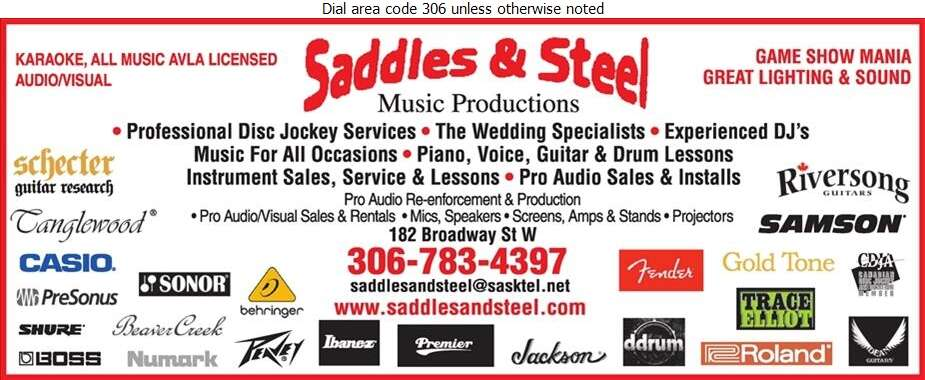 Saddles & Steel Music Productions - Music Recorded Dance Digital Ad