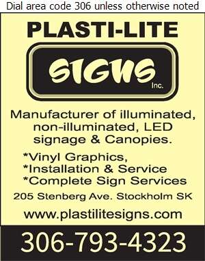 Plasti-Lite Signs Inc - Signs Digital Ad