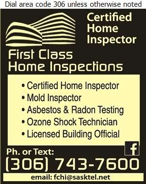 First Class Home Inspections - Home Inspections Digital Ad