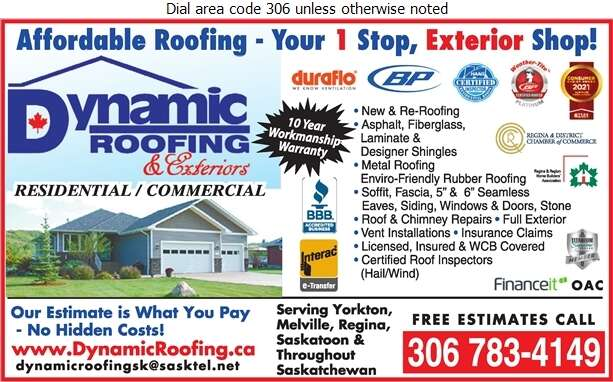 Dynamic Roofing Inc - Roofing Contractors Digital Ad
