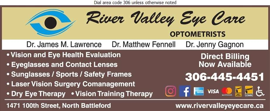 River Valley Eye Care (Dr James Lawrence, Dr Matthew Fennell & Dr Jenny Gagnon) - Optometrists Digital Ad