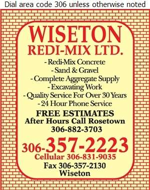 Wiseton Redi-Mix Ltd - Concrete Ready Mixed Digital Ad