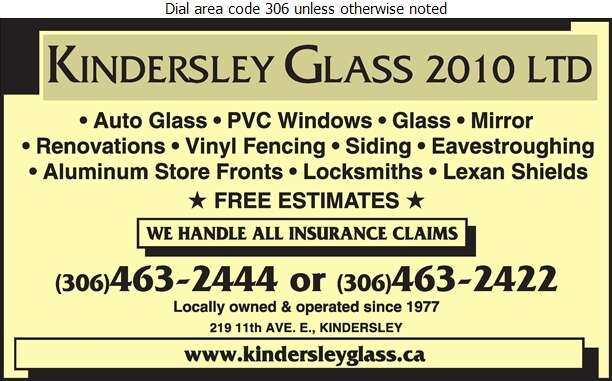 Kindersley Glass 2010 Ltd - Glass Auto, Float, Plate, Window Etc Digital Ad