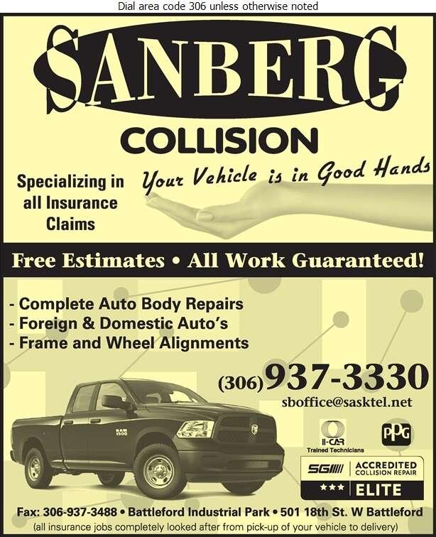 Sanberg Collision (Battleford) - Auto Body Repairing Digital Ad