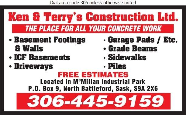 Ken & Terry's Construction Ltd - Concrete Contractors Digital Ad