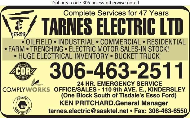 Tarnes Electric Ltd - Electric Contractors Digital Ad