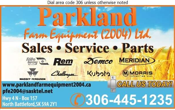Parkland Farm Equipment 2004 Ltd - Agricultural Implements Sales, Service & Parts Digital Ad