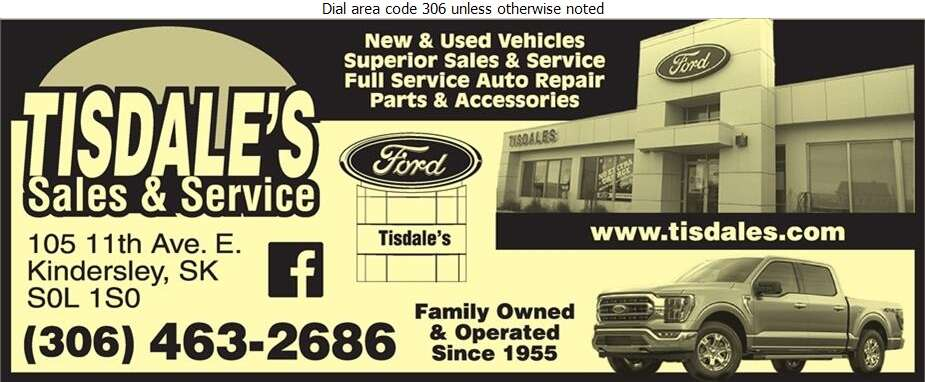 Tisdale's Sales & Service Ltd - Auto Dealers New Cars Digital Ad
