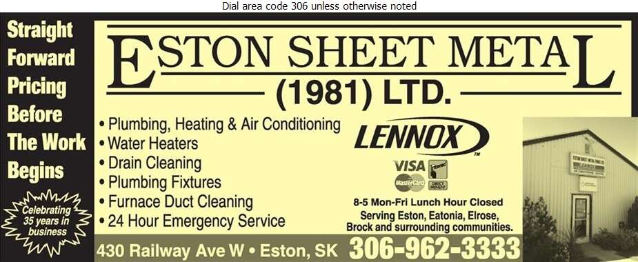 Eston Sheet Metal (1981) Ltd - Plumbing Contractors Digital Ad