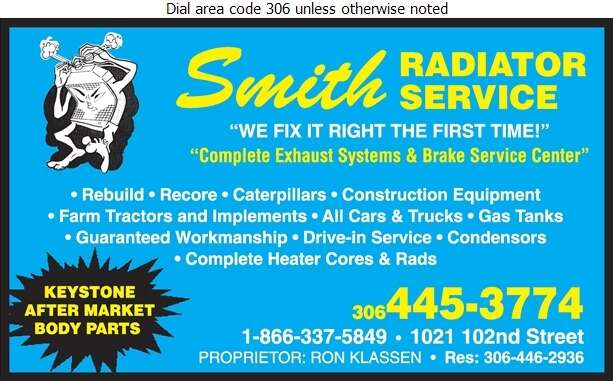 Smith Radiator Service - Radiators Auto & Industrial Digital Ad