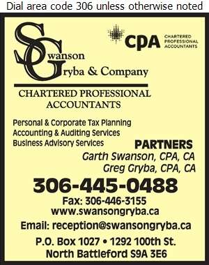 Swanson Gryba & Company (G Gryba Res) - Accountants Chartered Professional Digital Ad