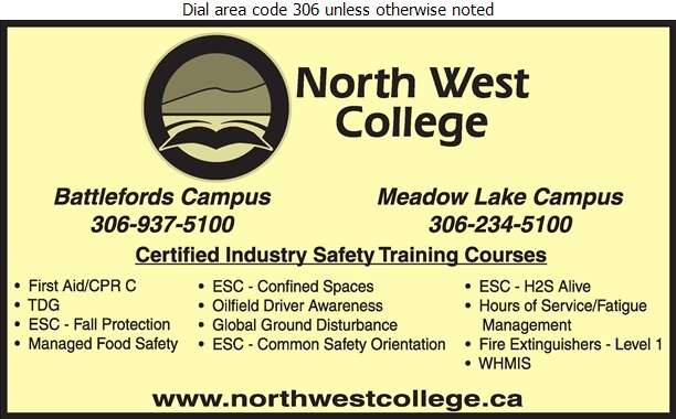 North West College (Meadow Lake Campus) - Safety Consultants & Training Digital Ad