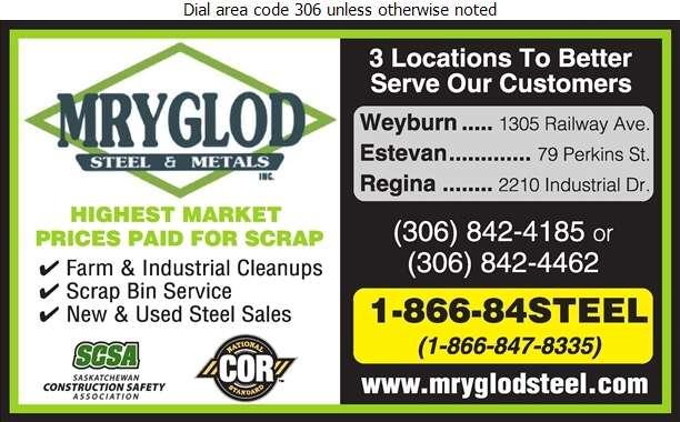 Mryglod Steel & Metals Inc - Salvage Digital Ad