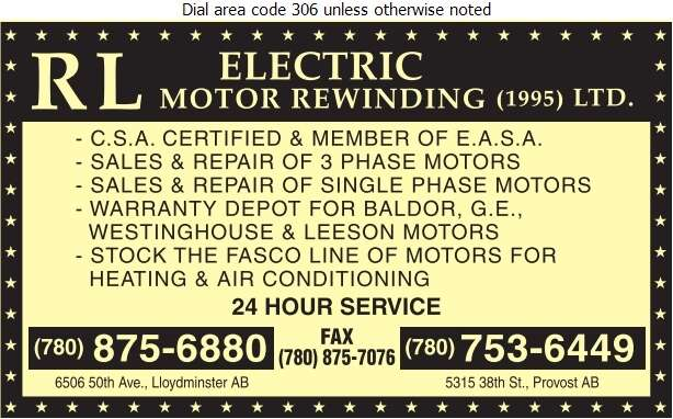 R L Electric Motor Rewinding (1995) Ltd - Electric Motors Sales & Service Digital Ad