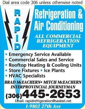 Rapid Refrigeration & Air Conditioning - Refrigerating Equipment Commercial Sales & Service Digital Ad