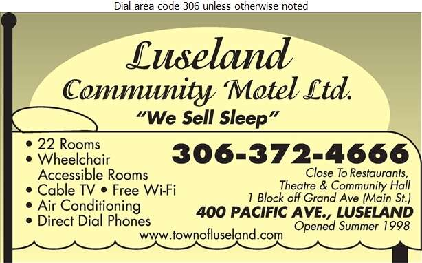 Luseland Community Motel Ltd - Motels Digital Ad