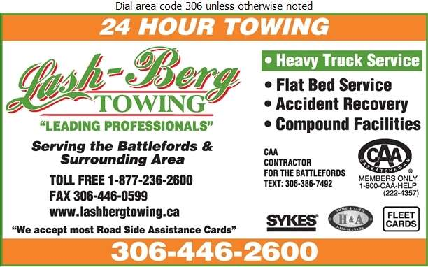Lash-Berg Towing - Towing & Boosting Service Digital Ad