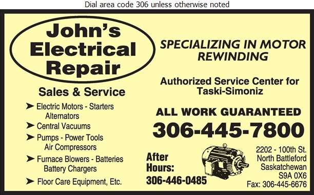 John's Electrical Repair - Electric Motors Sales & Service Digital Ad