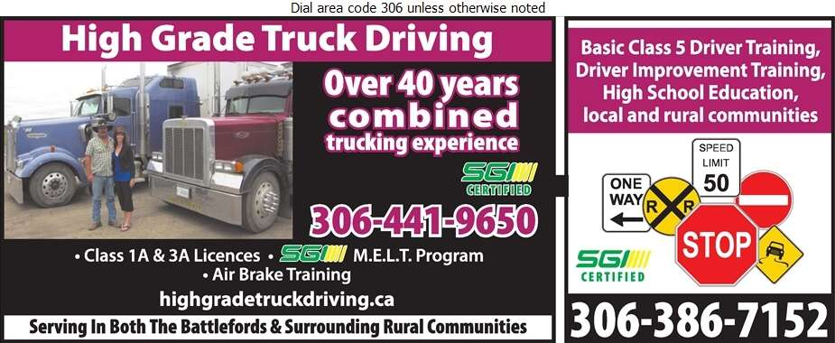 High Grade Truck Driving - Driving Instruction Digital Ad
