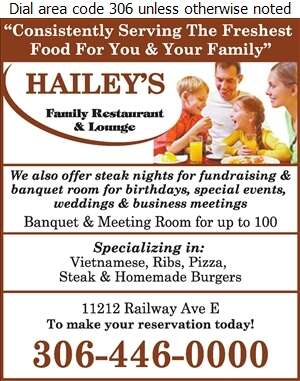 Hailey's - Banquet Rooms Digital Ad
