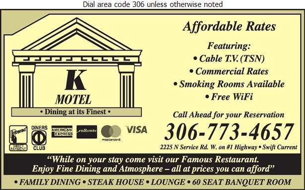 K Motel (Steak House Catering From 50-1000) - Motels Digital Ad
