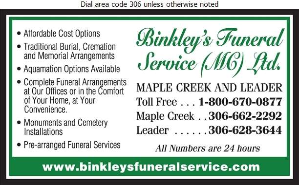 Binkley's Funeral Service (MC) Ltd - Funeral Homes & Planning Digital Ad