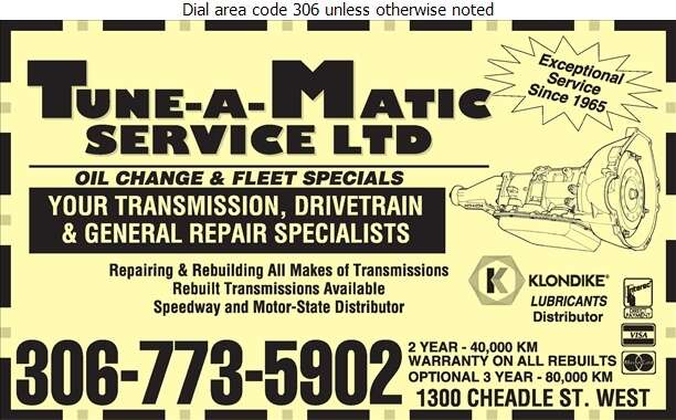 Tune-A-Matic Service Ltd - Transmissions Auto Digital Ad