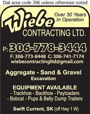 Wiebe Contracting Ltd - Sand & Gravel Digital Ad
