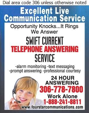 Swift Current Telephone Answering Service - Telephone Answering Service Digital Ad
