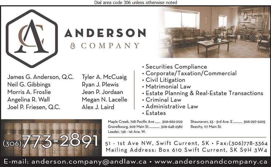 Anderson & Company (MAPLE CREEK OFFICE) - Lawyers Digital Ad