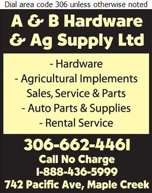 A & B Hardware & Ag Supply Ltd - Auto Parts & Supplies Retail Digital Ad