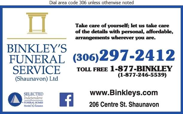 Binkley's Funeral Home (Shaunavon) (Shaunavon) - Funeral Homes & Planning Digital Ad