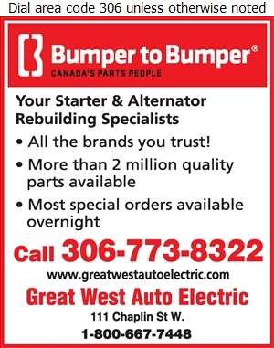 Bumper to Bumper - Great West Auto Electric Ltd - Auto Parts & Supplies Retail Digital Ad